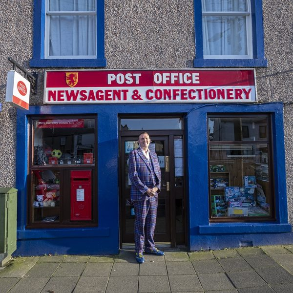 Doddie Weir outside the Wigtown Post Office