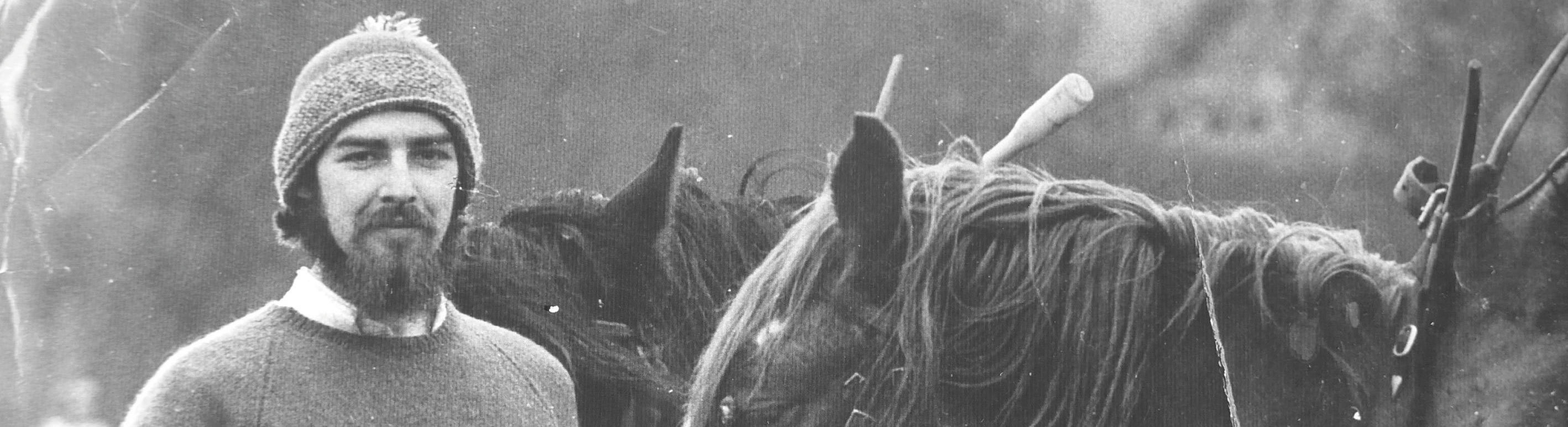 Southlight Magazine 2020 - cover image. 1970s photograph of man with horses