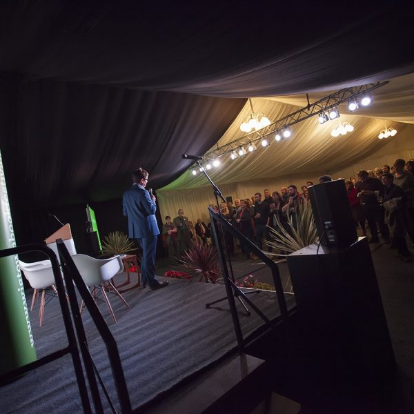 An event in the large marquee, during the book festival. View from the wings of the stage towards the audience.